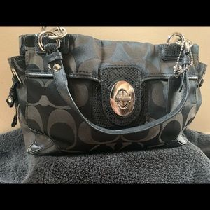 Black Coach purse signature print shoulder bag